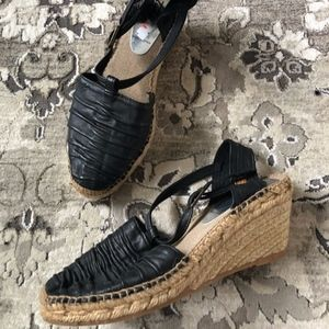 MONTANÉ Spain Black Leather Espadrilles Wedges